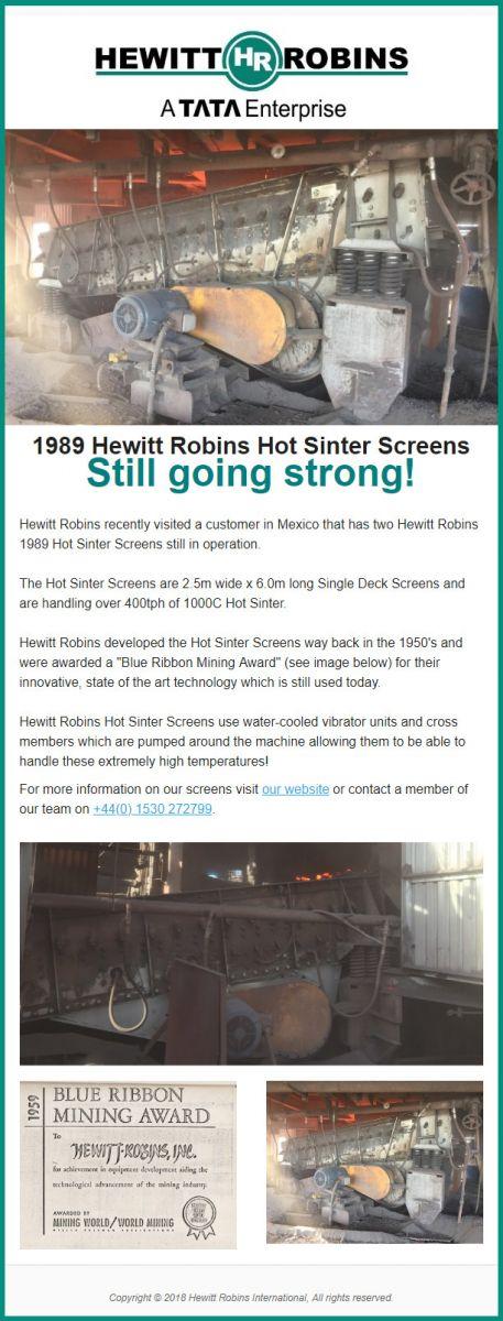 Hewitt Robins 1989 Hot Sinter Screen